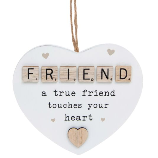 Friend Scrabble Sentiment Hanging Heart