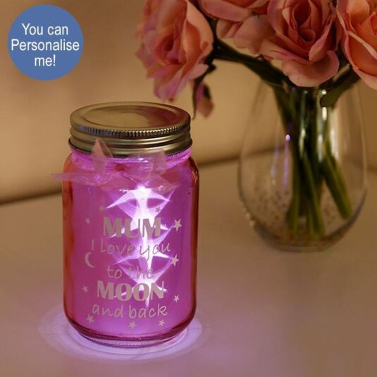 LED Mum Pink Firefly Sentiment Jar