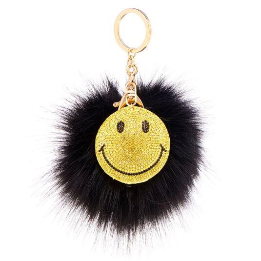 Black Faux Fur Smiley Face Pom Pom