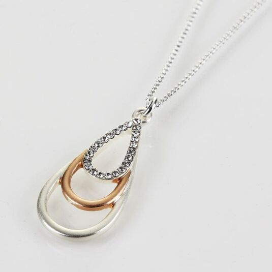 Silver and Rose Gold Plated Triple Loop Necklace