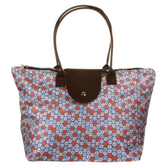 Orange and Blue Floral Waterproof Tote Bag
