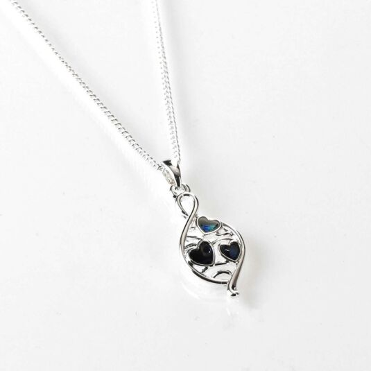 Mother of Pearl Modern Teardrop Silver Plated Necklace