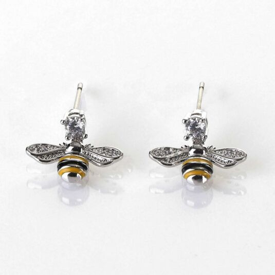 Handpainted Dangly Bee Platinum Plated Earrings