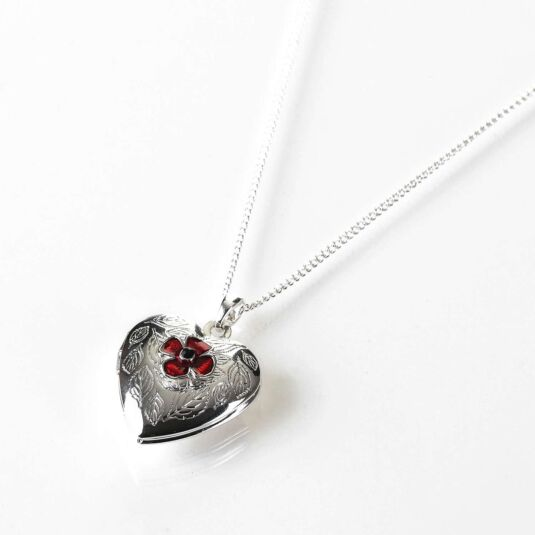 Poppy Heart Silver Plated Locket Necklace