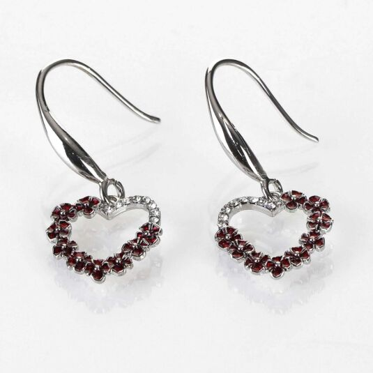 Poppy and Diamante Heart Earrings