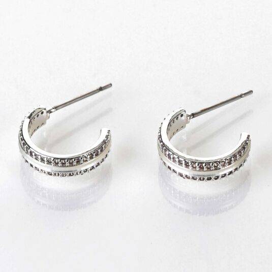 Matte Silver Plated Hoop Earrings
