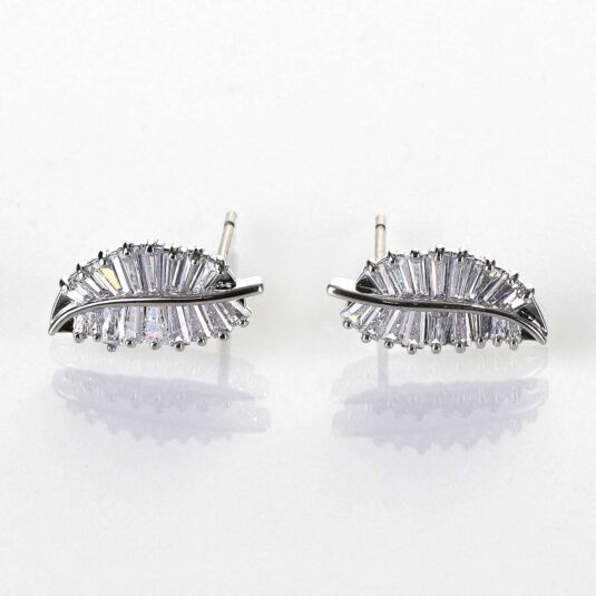 Baguette Crystal Leaves Platinum Plated Earrings