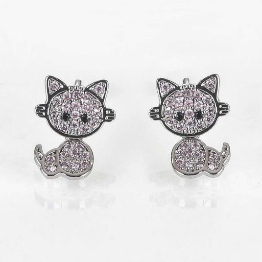 Girls Pink Moving Kitten Silver Plated Earrings