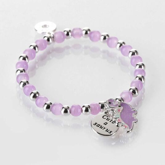 Girls Purple Dinosaur Silver Plated Beaded Bracelet