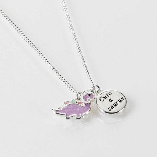 Girls Purple Dinosaur Silver Plated Necklace
