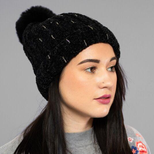 Black Chenille Sparkle Pom-Pom Hat