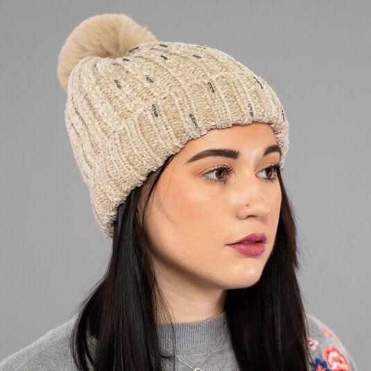 Cream Chenille Sparkle Pom-Pom Hat