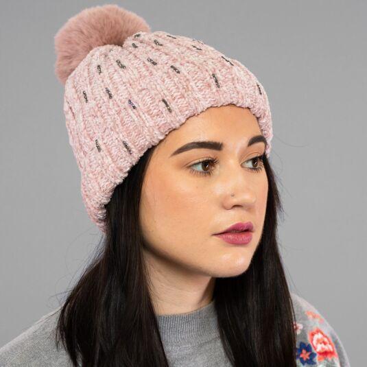 Pink Chenille Sparkle Pom-Pom Hat