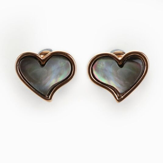 Rose Gold Plated Pearl Shell Heart Boxed Earrings