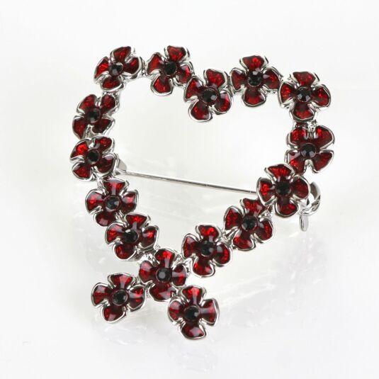 Poppy Heart Boxed Brooch