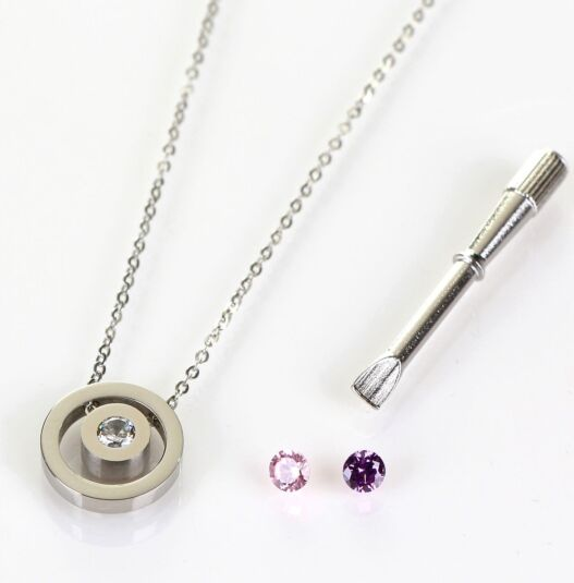 Silver Changeable Crystal Boxed Necklace
