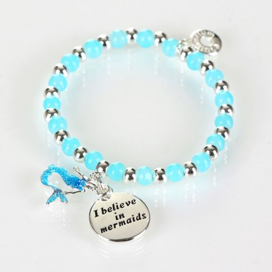 Girls Silver Plated Blue Mystical Bead Bracelet