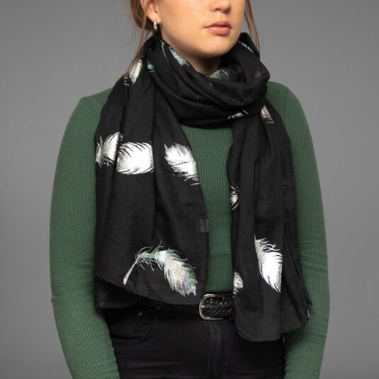 Black Holographic Feathers Scarf