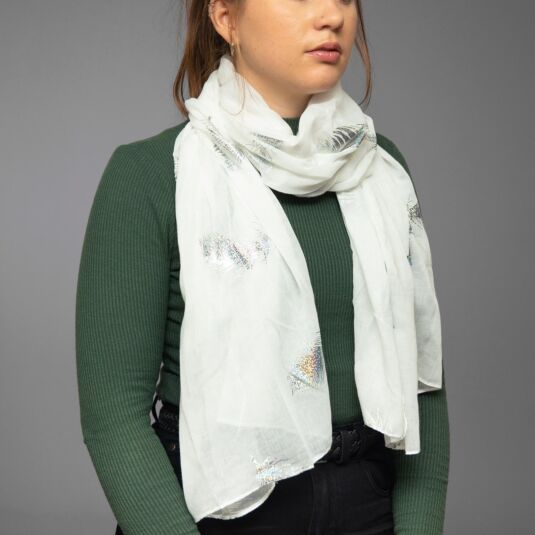 White Holographic Feathers Scarf