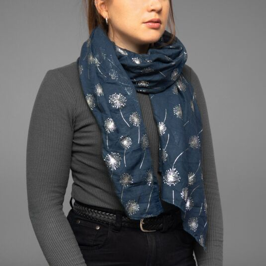 Metallic Dandelion Navy Boxed Scarf