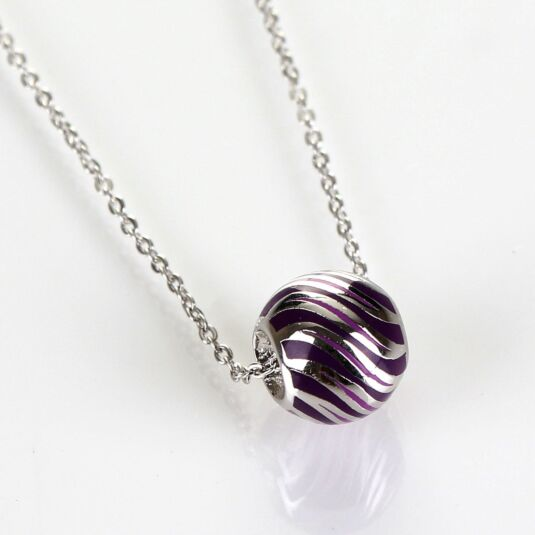 Handpainted Striped Ball White Gold Plated Boxed Necklace