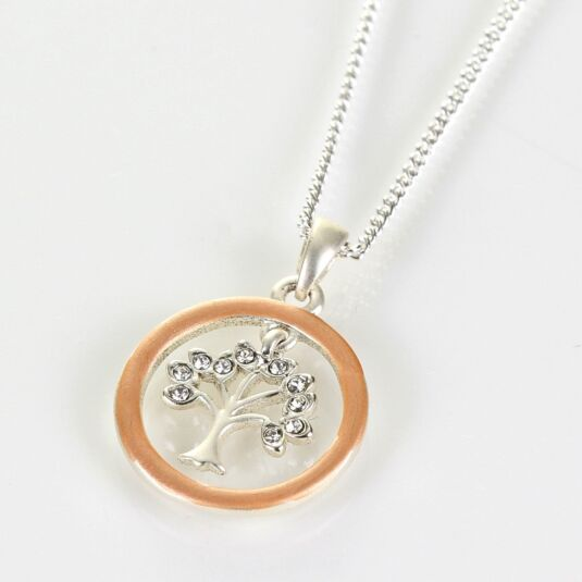 Matt Rose Gold & Silver Plated Circle of Life Boxed Necklace