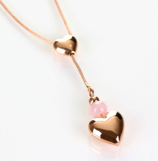 Pink Drop Heart Rose Gold Plated Boxed Necklace