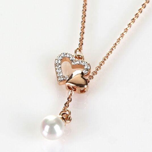 Adjustable Double Heart Rose Gold Plated Boxed Necklace