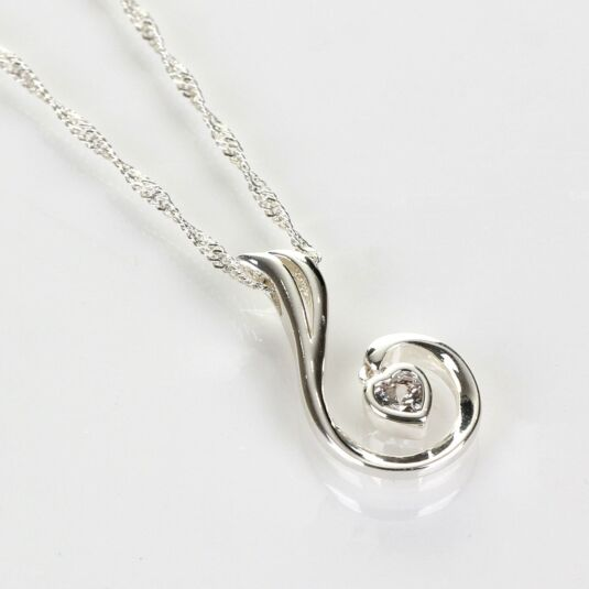 Swirl Heart Silver Plated Boxed Necklace