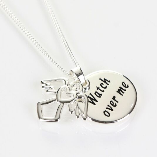 Guardian Angel Silver Plated Boxed 'Watch' Message Necklace