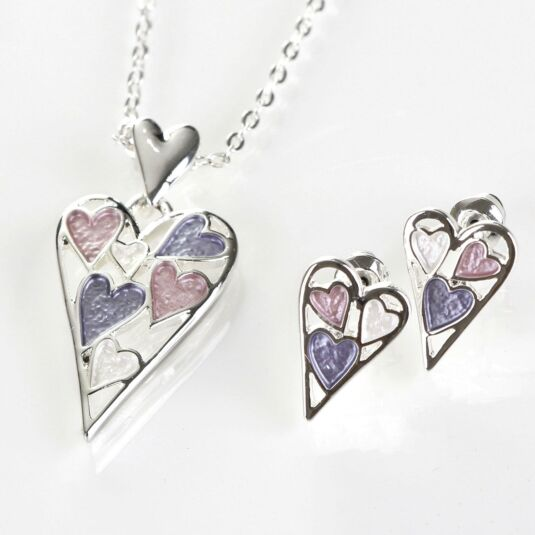Hazy Tones Heart Boxed Necklace and Earrings Set