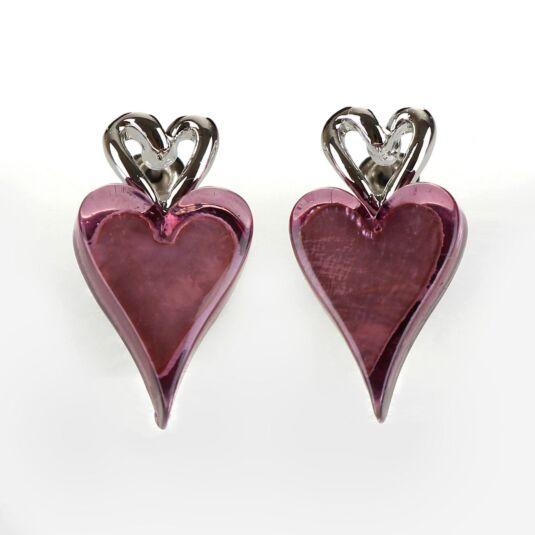 Modern Etched Purple Heart Earrings