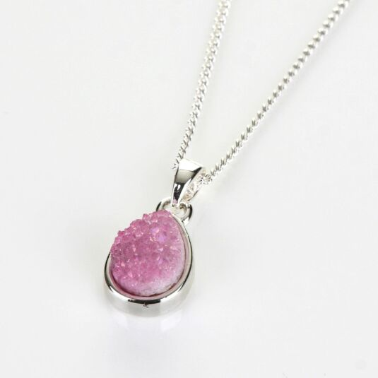 Sparkling Pink Teardrop Silver Plated Necklace