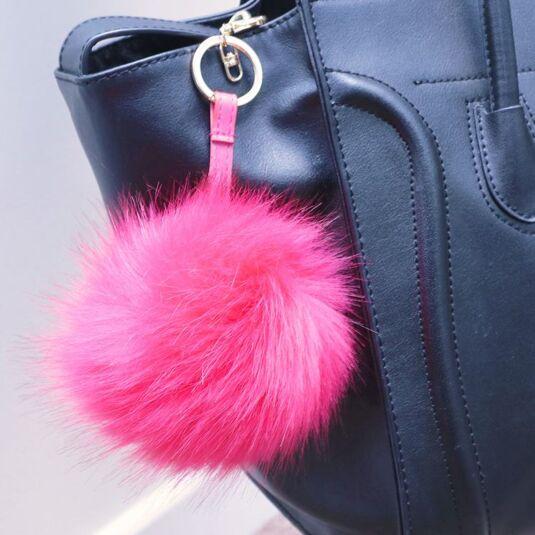 Pink Faux-Fur Bag Charm