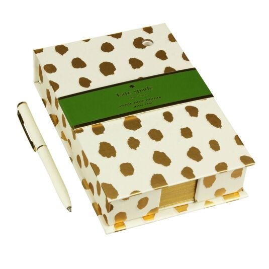 Gold Flamingo Dot Loose Note Holder with Pen