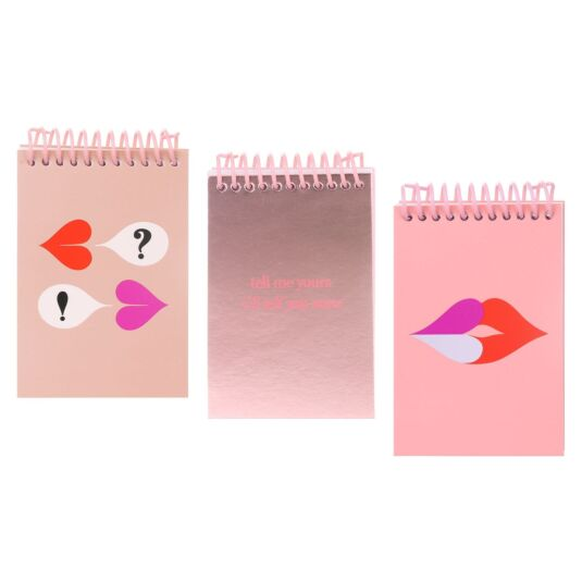 Heart Lips Set of 3 Spiral Notepads