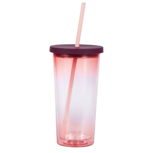 Pink Ombré Tumbler With Straw