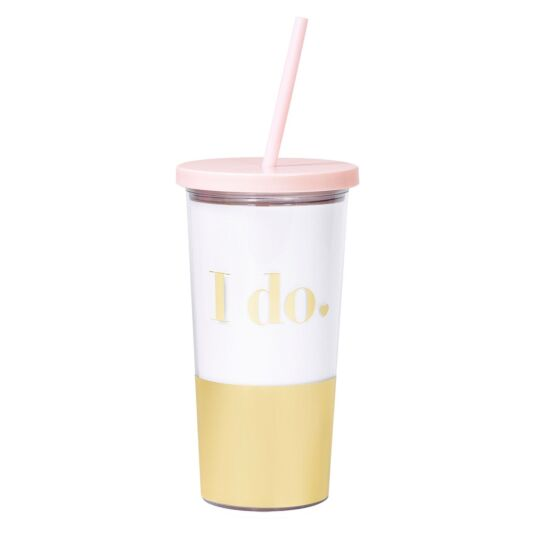 I Do Bridal Tumbler With Straw