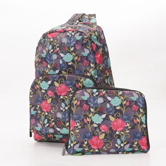 Eco Chic Black Climbing Rose Foldaway Backpack