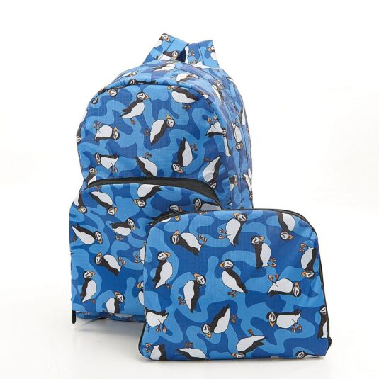 Eco Chic Blue Puffins Foldaway Backpack