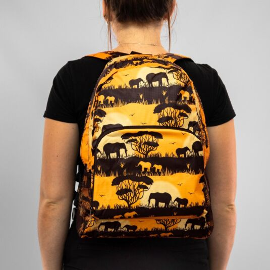 Eco Chic Orange Savannah Foldaway Backpack