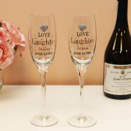 Mad Dots Love/Laughter Twin Champagne Flutes