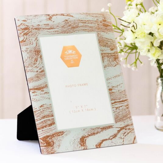 "Mirror 5"" x 7"" Rose Gold Glitter Swirl Photo Frame"