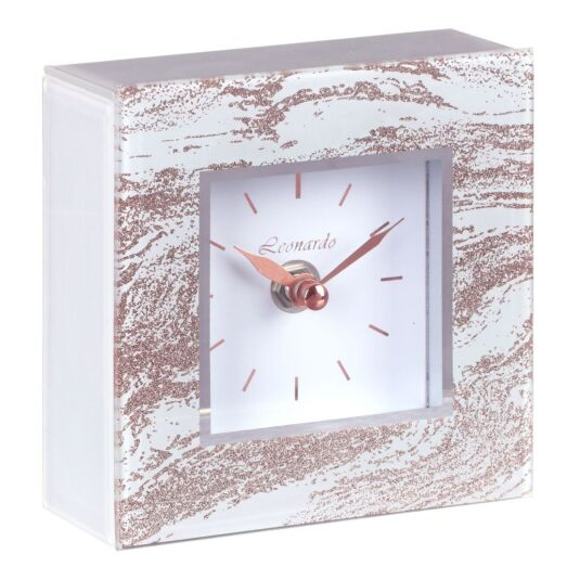 Mirror Rose Gold Glitter Swirl Clock