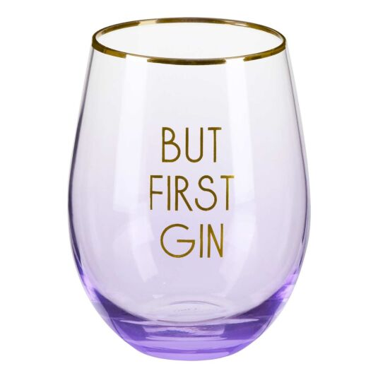 Let's Party 'But First Gin' Stemless Glass
