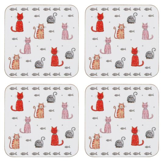 Faithful Friend Set Of 4 Cat Coasters
