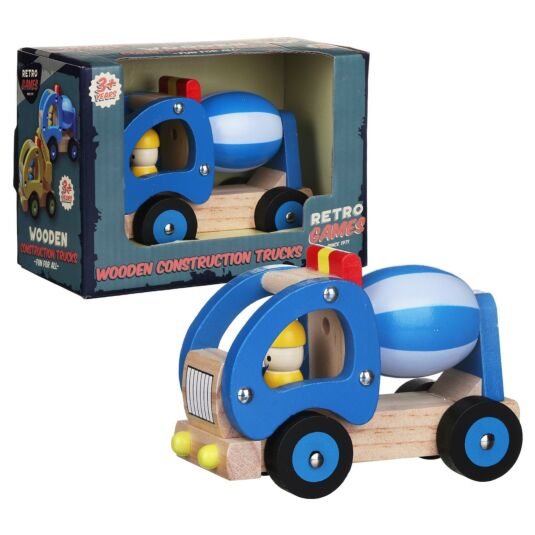 Wooden Retro Blue Construction Truck