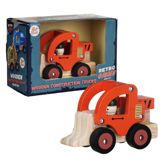 Wooden Retro Orange Construction Truck