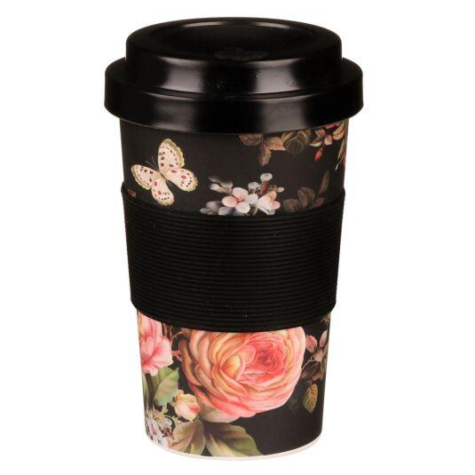 Small Floral Black and Pink Bamboo Travel Mug