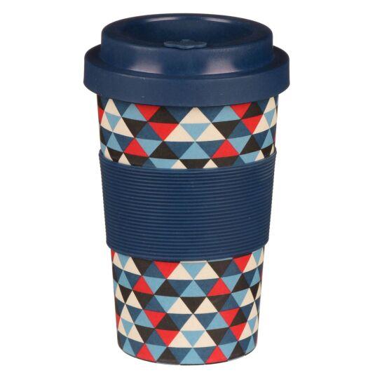 Small Triangle Patterned Dark Blue Bamboo Travel Mug